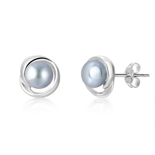 SOFIA strieborné náušnice s perlou