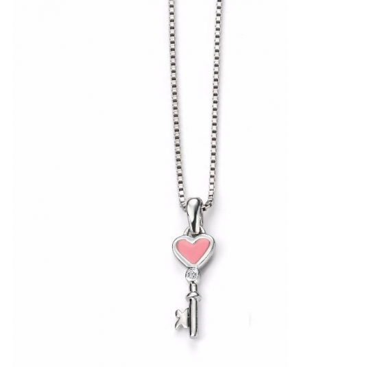 D for Diamond náhrdelník kľúč so srdiečkom